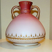 Stunning vase peachblow or pink shaded satin glass handles Persian