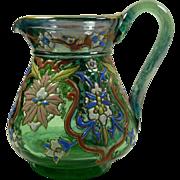 Riedel Uranium glass enameled islamic style design pitcher vase