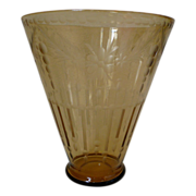 Topaz Steuben glass vase with etching of draped florals