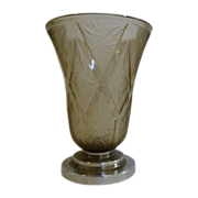 Verlys Deco Cubist glass vase with metal foot