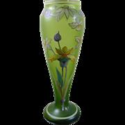 Art nouveau green enameled glass vase