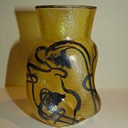 Art Nouveau glass vase SIlver overlay Acid cut back