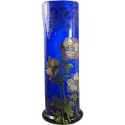 Legras enameled glass vase Cobalt blue