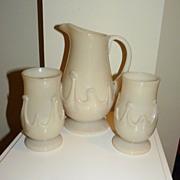 Lilypad lemonade pitcher and tumblers American 4 glasses 1 pitcher