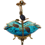 Aesthetic period Glass basket with metal ormolu