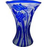SOLD Large cobalt cameo glass vase, by Webb glass