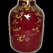 Webb Harrach Oxblood glass vase birds and uranium glass Piece 2 of 2