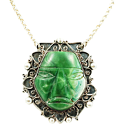 Vintage Aztec/ Mayan Green Onyx Face Mask Pendant Necklace in Silver Circa 1940