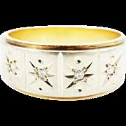 Wide Vintage Mid-Century Star Set Diamond Wedding Band Ring