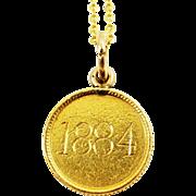 """Antique Victorian 22K Coin Love Token Pendant Charm Necklace """"Clara"""" """"1884"""""""