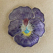 Vintage Silver Enameled Pansy Brooch