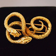 Vintage Gold Double Snake Brooch