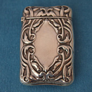 Art Nouveau Sterling Silver Match Safe