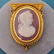 Victorian Chalcedony/Carnelian Cameo Brooch