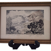Pair of Vintage Lyman Byxby Miniature Etchings