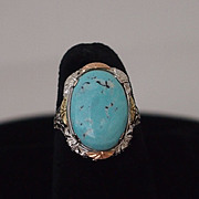 Vintage Art Deco Turquoise Ring