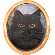 SOLD Victorian Miniature Cat Portrait Brooch