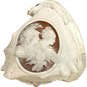 Conch Shell With Cameo Of Hera, Athena and Zeus Disguised As An Eagle