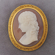 Exquisite Chalcedony Cameo Brooch