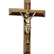 SALE *Final Clearance - Antique Tramp Art Crucifix with Rare Metal Christ, signed and dated