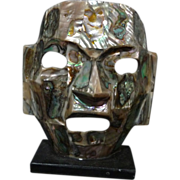 SALE *Final Clearance -Mexican Aztec Abalone Mask ~Hand Crafted~on stand