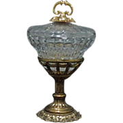 SOLD *REDUCED 70% - Elegant Footed Candy ~ Gold plate and Clear Crystal