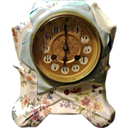 Final Clearance ~ Porcelain Antique French Sarreguemines Mantel Clock