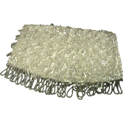 SALE *40% Reduction ~ White Evening Clutch ~ Dangling Sparkling Beads, Sequins, and White Sati