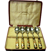 SALE *Reduced 20% ~Five Royal Crown Derby Teaspoons in box~Traditional pattern