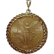 SOLD 1982 Libertad Onza Pendant Plata Pura .999 Silver from Mexico 1 Troy Ounce Winged Liberty