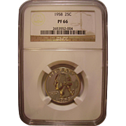 SOLD 1958 Proof Silver Washington Quarter Graded PF66 by NGC - Red Tag Sale Item