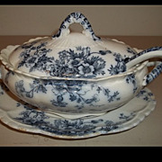 K & Co.  Flora Blue & White Soup or Gravy Tureen With Ladle