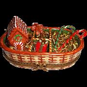 Limoges Christmas Tree Decorations Trinket Box  Signed