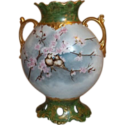 Limoges Pouyat Pillow Vase with Reticulated Bottom Love Birds on Spring Flower Branches
