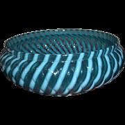 Buckeye Blue Opalescent Bowl in Reverse Swirl Pattern