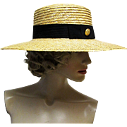 SOLD Classic Honey Colored Regatta Straw Boater Hat- 1960's