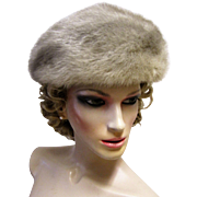 Silver Cross Mink Fur Beret Hat by Camelot New York.