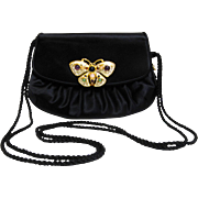 Judith Leiber Black Satin Evening Bag with Butterfly Clasp and Accessories.