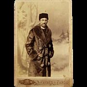 SOLD Cabinet Card of Man in Fur Coat and Hat- F. Jay Haynes. Fargo, Dakota Territory.