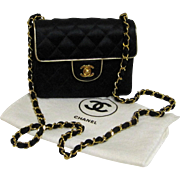 Vintage Chanel Black Quilted Satin CC Small Evening Bag. Paris.
