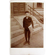 Occupational Cabinet Card Photograph of a Paperboy 'Newsboy'.