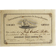 American Board of Commissioners Certificate for Foreign Missions, Morning Star 1866