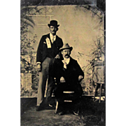 SOLD Tintype- Two Men With Political Ribbons, One Man is African American.