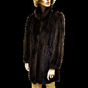 Luxurious Natural Ranch Mahogany Mink Fur Car Coat.
