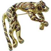 Vintage Rootbeer Glass Large Gold Tone Tiger Brooch