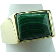 REDUCED Vintage Unisex Solid 14K Yellow Gold Malachite Ring