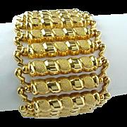 "Vintage Custom Made 1 3/4"" Wide 18 K Yellow Gold Solid Bracelet"