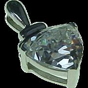 Vintage 14K White Gold 1.75 Carat Trillion Cut Simulated Diamond Pendant