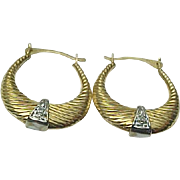 10K Two Tone Textured Gold Diamond Hoops