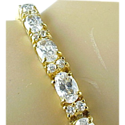 Vintage Vermeil 11 Carat Simulated Diamond Tennis Bracelet